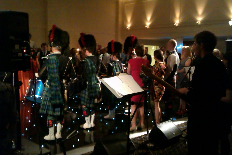 Pipe band from my less-than-awesome view