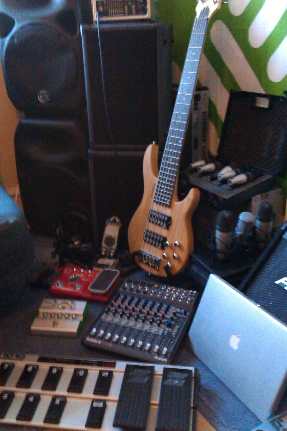 Some of the toys we like to use: Strindberg 6-String Behringer FCB1010 Zoom B2.1u Alesis MutliMix 12fw Ashodown Superfly 500 MacBook Pro Wharfdale Titan 12D(x2) Custom Cabs 110(x2) Ashodown Dual-Band Compressor Mics (assorted)